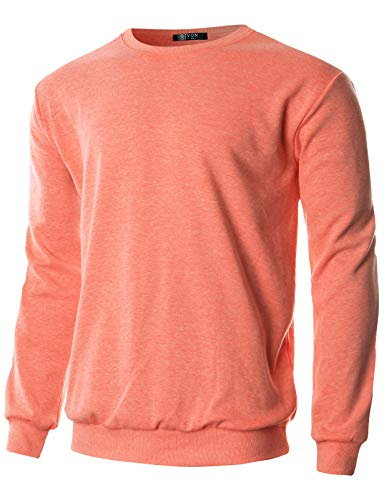 GIVON Mens Regular Fit Lightweight Crew Neck Sweatshirt/DCS005-ORANGE-L