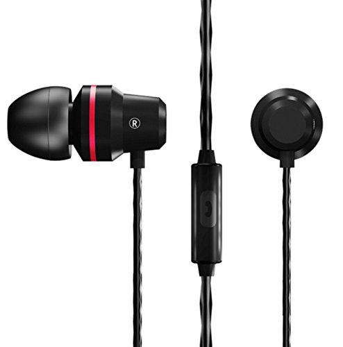 QKZ DM1 In-Ear-Kopfhörer Stereo Ohrhörer 108dB mit Mikrofon Headset für alle Smartphones, MP3-Player, Tablets Ausbalancierter Klang mit verstärktem Bass Sound (Schwarz)