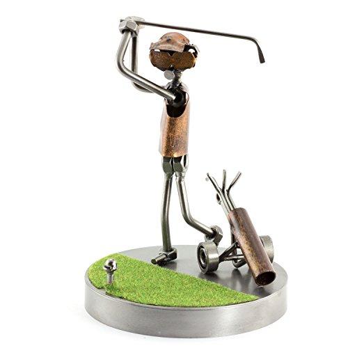 Steelman24 I Schraubenmännchen Golf Abschlag Auf Dem Grün I Made in Germany I Handarbeit I Geschenkidee I Stahlfigur I Metallfigur I Metallmännchen