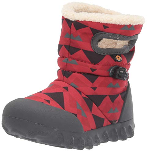 Bogs Kids B MOC Waterproof Insulated Winter Rain and Snow Boot for Boys and Girls, Mountain - Red Multi, 4 M