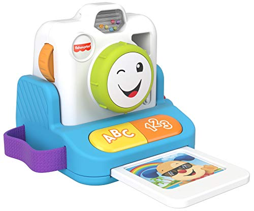 Fisher-Price Laugh & Learn Click & Learn Instant Camera English & French Edition, Early Role Play Toy with Music and...