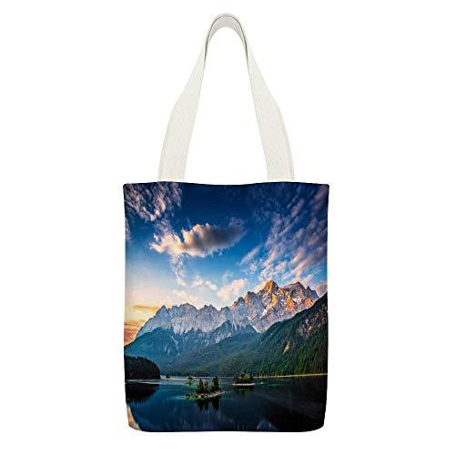 Sac fourre-tout en toile avec lac, montagne, forêt, Bavière, Alpes, Allemagne - Couleur : blanc - Réutilisable - Respectueux de l'environnement - Super résistant