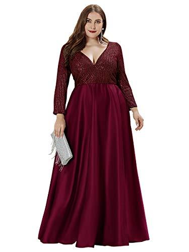 Ever-Pretty Damen Abendkleid Pailletten A-Linie V Ausschnitt Lange Ärmel große Größe Burgund 48