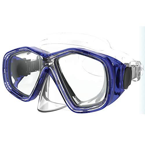 Máscara de buceo profesional para jóvenes/mujeres Tritone, máscara de buceo con cara de PVC, máscara de buceo con lentes de vidrio templado y sistema de bloqueo de correa automática