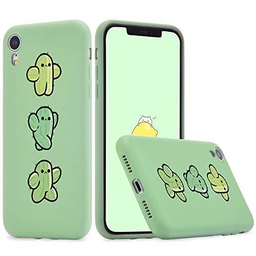 Idocolors Cover per iPhone 6 / 6S Cactus Carino Verde Silicone Liquido Morbido Custodia con Fodera Tessile Microfibra Antiurto Bumper Protettiva Case