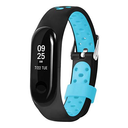 JiaMeng Correas para Xiaomi Mi Band 3 de Pulsera de Repuesto de Silicona Suave Reemplazo Ventilador Sport Soft Muñequera Correa Muñequera(Azul,tamaño Libre)
