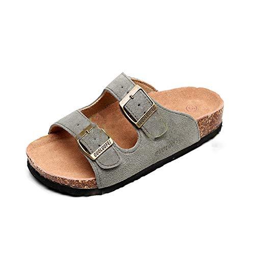 Mujer Sandalias Chanclas Mulas para Zuecos De Corcho Correa Gamuza Ajustable Hebilla Zapatos Planos del Pie Desli(Verde,44/45 EU,27.5CM De talón a Dedo del pie,43 Talla del Fabricante