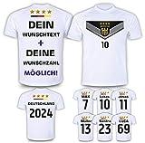 DE FANSHOP Deutschland Trikot mit Hose & GRATIS Wunschname + Nummer #D11 2021 2022 EM/WM Weiss - Geschenk für Kinder Jungen Baby Fußball T-Shirt personalisiert