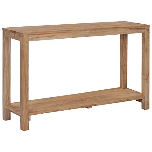 vidaXL Teakholz Massivholz Konsolentisch mit Ablage Konsole Beistelltisch Ablagetisch Flurtisch Telefontisch Sideboard Wohnzimmer 120x35x75 cm