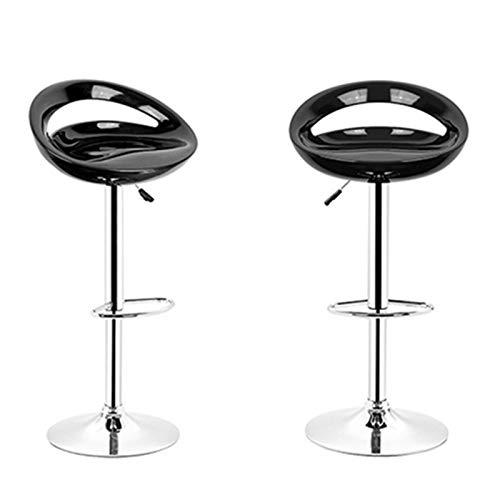 Turefans 2PCS, taburetes de Bar, Taburete Cocina, Altura Ajustable, rotación de 360 °, Muy Adecuado para Bares, cocinas, Asientos de ABS, fácil de Limpiar (Negro)