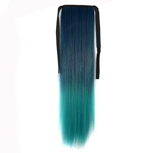 CXYP 22 Inch Ombre Straight Binding Ponytail Extension Wrap Around Tie Up Ponytail Synthetic Hair Tail Clip in Ponytail Hair (peacock green)