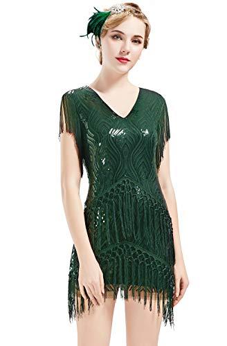 ArtiDeco Vestido estilo charleston de los años 20 para mujer, vintage, Gatsby, años 20, vestido de cóctel verde oscuro XXL