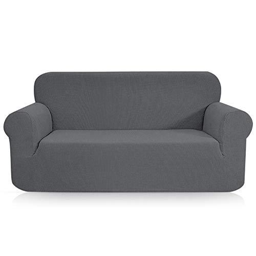 TOPOWN Sofaüberwurf, Jacquard Sofaüberzug, Couchbezug Wasserdicht, Sofahusse, Sofabezug für Sofa, Vier Farben (2 Sitzer, Grau)