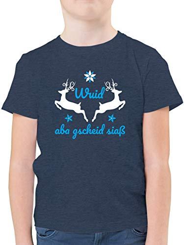 Oktoberfest & Wiesn Kind - Wuid ABA gscheid siaß - 116 (5/6 Jahre) - Dunkelblau Meliert - Shirt Oktoberfest Kinder - F130K - Kinder Tshirts und T-Shirt für Jungen