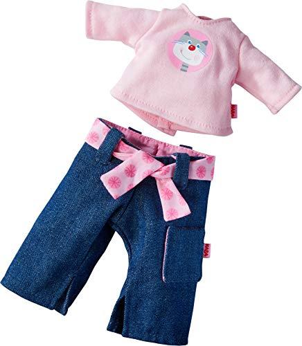 HABA 304227 - Kleiderset Rosanna, Puppenzubehör für alle 30 cm großen HABA-Puppen, Set aus Jeans mit Stoffgürtel und Langarmshirt, ab 18 Monaten