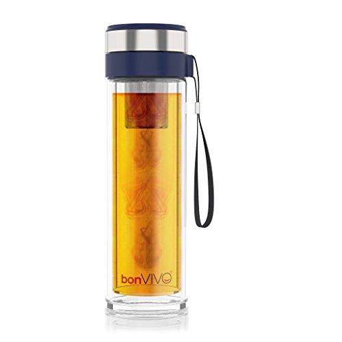 BonVivo® Vitalitea Glas-Trinkflasche Für Tee Und Smoothies, Mit Thermo-Funktion Und Tea-Filter, 0,45 Liter, In Blau
