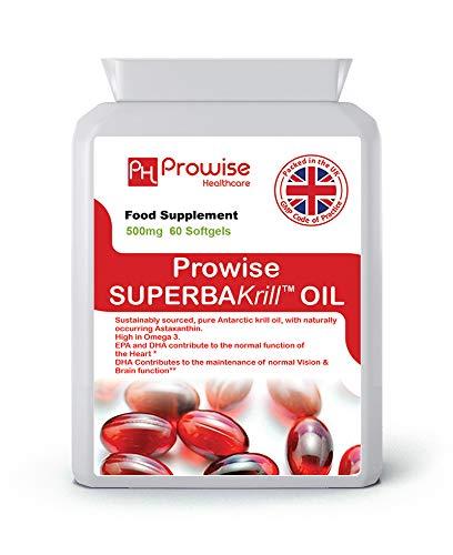 Superba Krill Oil 500mg 60 Softgels - 1000mg Per Serving - High Grade Pure Antarctic Sourced Red...