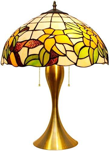 W&HH Lámpara de Mesa de Estilo Tiffany, lámpara de Escritorio de la cabecera manchada multicolora, lámpara de Mesa de Noche Pastoral Europeo Luz de mesita de Noche para Sala de Estar Dormitorio,30cm