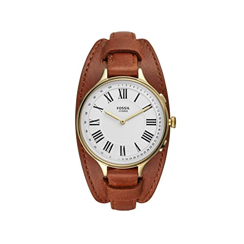 Fossil Women's Eleanor Stainless Steel Hybrid Smartwatch, Color: Gold/Brown (Model: FTW5076)