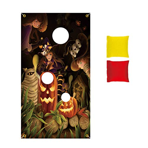 Fliyy 75 * 135 cm Halloween Hanging Toss Game Kürbis Design with 2 Bean Bags Party Games for Kids, Halloween Games for Kids Party Halloween Decorations