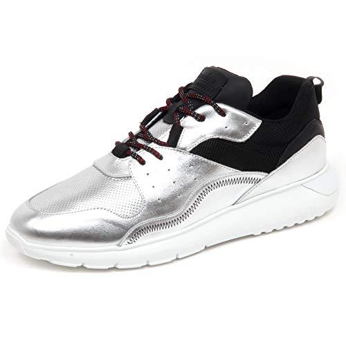 Hogan F7222 Sneaker Uomo Silver/Black Interactive 3 Tissue/Leather Shoe Man [6.5]