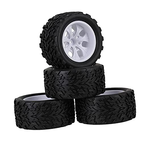 Hellery Coche RC 1:10 Juego de neumáticos de Ruedas de Goma para HSP 94111 Accesorios para Camiones sobre orugas de Roca - Blanco