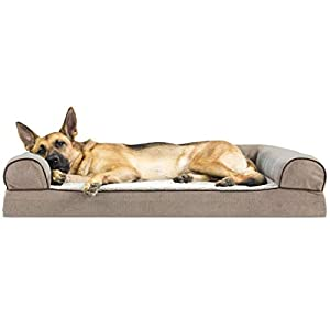 Furhaven Pet Dog Bed – Memory Foam Faux Fleece and Chenille Traditional Sofa-Style Living Room Couch Pet Bed with Removable Cover for Dogs and Cats, Cream, Jumbo