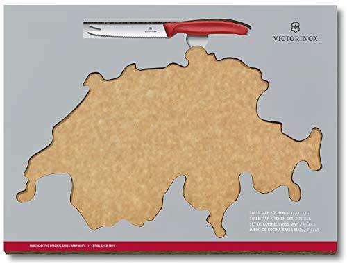 Victorinox Swiss Classic 2-tlg. Küchen-Set, Schneidebrett Landkarte Schweiz 40 x 25 x 0,6 cm, Käse- und Wurstmesser, Holz