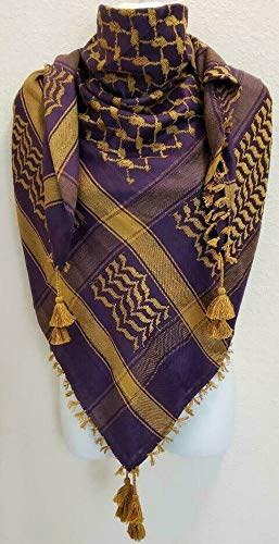 New Purple Rust Gold Arab Unisex Shemagh Head Scarf Neck Wrap Authentic Cotton Arab face cover