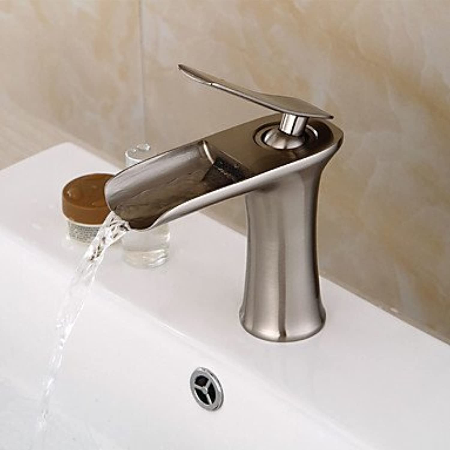 SUNNY KEY-Kitchen Sink Taps@ Vessel Single Handle One Hole in Nickel Brushed Bathroom Sink Faucet