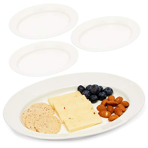 White Ceramic Serving Platters Oval Appetizer Trays 96 x 65 In 4 Pack