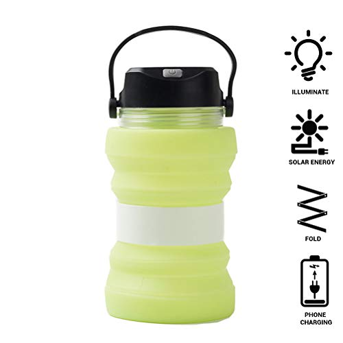 Peahop Solar Wasserkocher, Multifunktionale Kreative Faltbare Solarflasche Leuchtende Tasse Outdoor Silikon Tasse 730 Ml