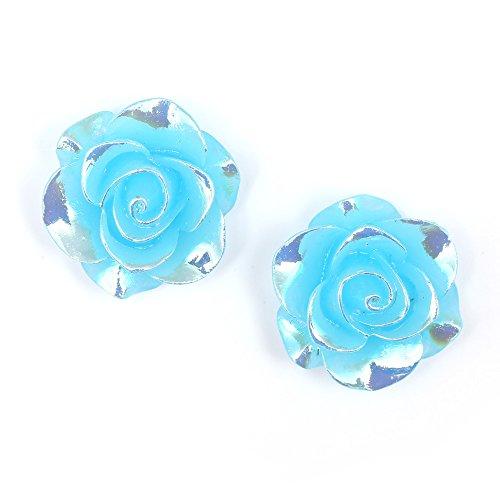 Idin - Orecchini a clip con applicato un fiore azzurro cielo (ca. 19 x 19 mm)