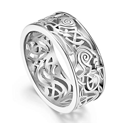 FAANCU Men 316L Stainless Steel Norse Viking Odin's Wolf Ring Celtic Knot Rings Wedding Band Comfort Fit Size 10