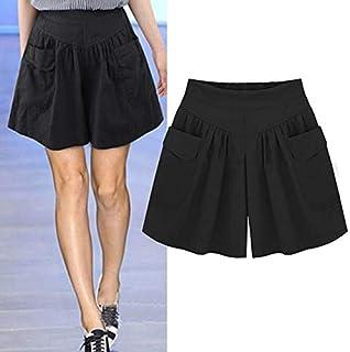 Homely 2018 Summer Women's High Waist Shorts (Black, 5XL, China)