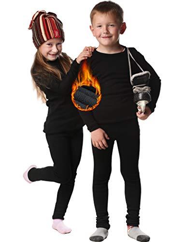 HOPLYNN - Thermounterwäsche Set für Kinder Funktionsunterwäsche Skiunterwäsche Jungen Atmungsaktiv Thermo Unterwäsche Warme Fussball Ski Mit Fleecer Schwarz S