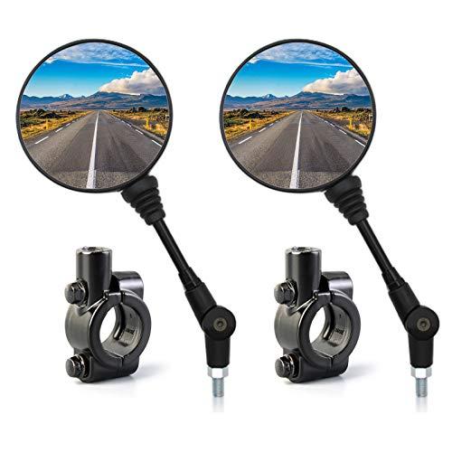 BOROMI Motorrad Spiegel, Lenker Rückspiegelhalterung, Universeller Faltbarer Runder Rückspiegel und 10-mm-Montagesockel aus Aluminiumlegierung für Motorräder, Motorroller und Fahrräder