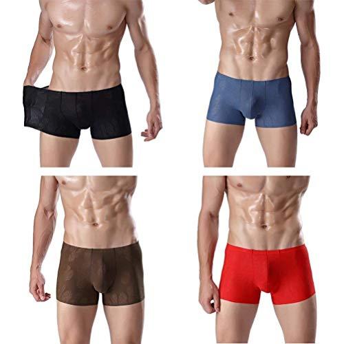 Perspektive Elastisch EIS Seide Nahtlos Atmungsaktiv Herren Unter Wärmen Sche Kleidung U Konvexen Beutel Jugend Boxershorts 4 (Color : A, Size : XL)