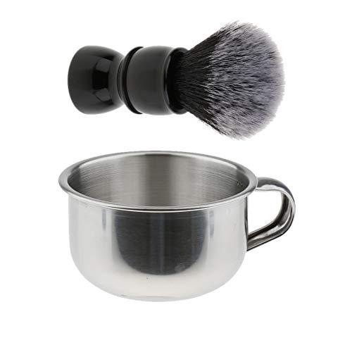 Fenteer Set Bol Tasse Rasage Blaireaux manuel Brosse à moustache - Argenté bol