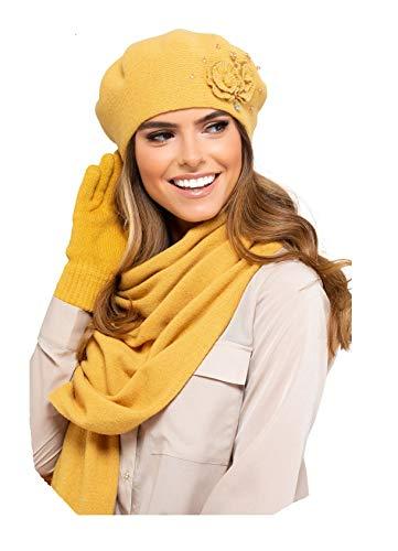 Kamea Damen Winterset Barcelona, 2 tlg, Beskenmütze mit passendem XXL Schal, Geschenk für Frauen, Winter Set:Honiggelb