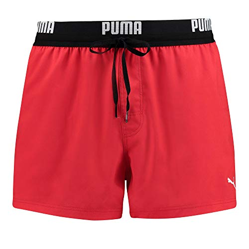 PUMA Mens Logo Men's Length Swimming Board Shorts, red, L