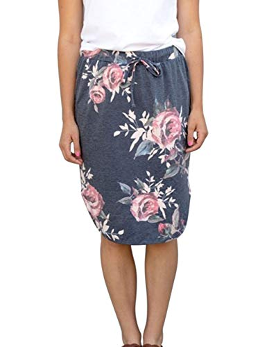 wenseny Womens Floral Skirts Knee Length Pencil Skirts High Waist Midi Bodycon Drawstring Daily Dresses Dark Grey Floral M