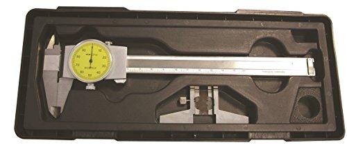 CNC QUALITÄT Calibrador de relojes de 150 mm con tope de profundidad en juego – lectura de 0,01 mm