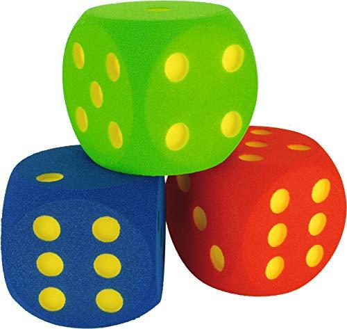 Sport-Thieme Schaumstoffwürfel | 3X Spielwürfel aus Schaumstoff in Blau, Grün, Rot | 16x16x16 cm | Formbeständig, farbfest, ausgefräste Zahlen | Ab 3 Jahren | Markenqualität