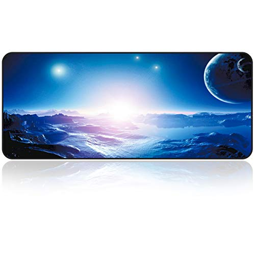 Large Gaming Mouse Pad with Nonslip Base|Extended XXL Size, Heavy|Thick, Comfy, Foldable Mat for Desktop, Laptop, Keyboard, Consoles & More|Enjoy Precise (Space)