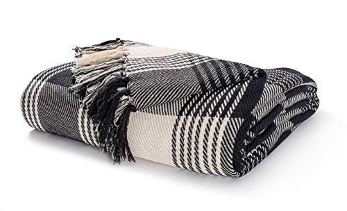 EHC Premium Reversible 100prozent Baumwolle Groß 250 x 380 cm Super King Size Tartanüberwürfe für Sofa, Tagesdecke, Schwarz