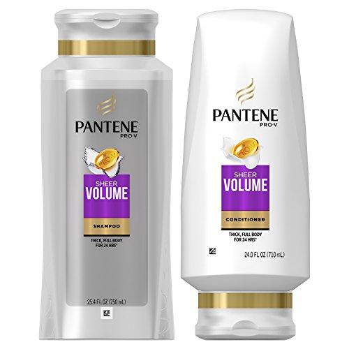 Pantene Shampoo and Conditioner Kit, Pro-V Sheer Volume for Fine Hair, 25.4 oz and 24 oz, Kit