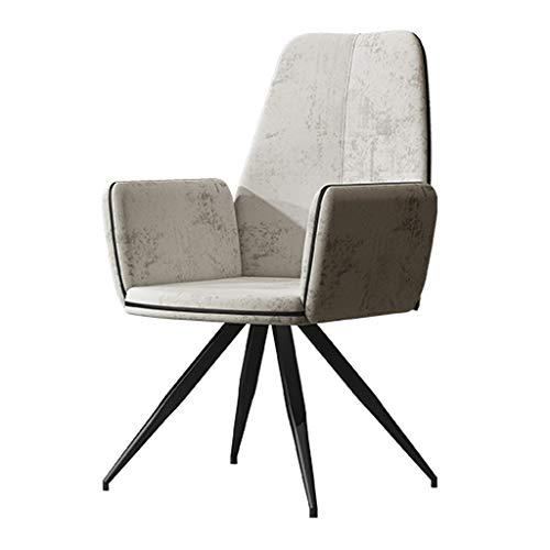 Dining Chair Silla de escritorio hermosa, simple, respaldo creativo, silla de ocio, para adultos caseros fuertes (color: blanco grisáceo)