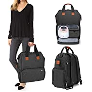 Luxja Breast Pump Bag with Compartments for Cooler Bag and Laptop, Breast Pump Backpack with 2 Options for Wearing (Fits Most Major Breast Pump, Suitable for Working Mothers), Black