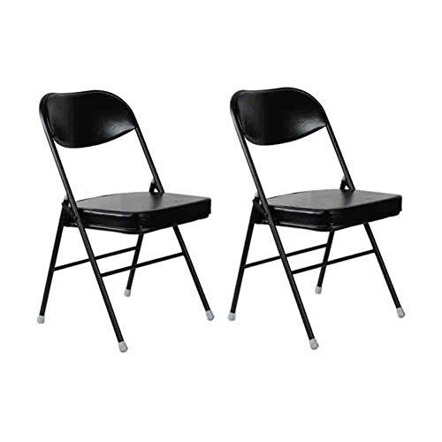 Sunny Chaise Pliante De Luxe, Chaise De Conférence À Manger Chaise De Bureau Informatique, Cadre en Acier PU Coussin Moelleux, Paquet De 2 (Couleur : Spray Black)
